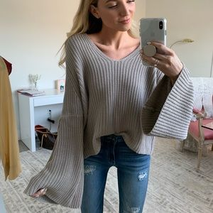 Wide Sleeve Tan Sweater sz. S